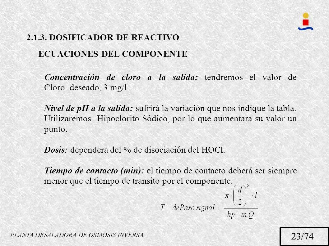 PLANTA DESALADORA DE OSMOSIS INVERSA 23/74 2.1.3. DOSIFICADOR DE REACTIVO ECUACIONES DEL COMPONENTE Concentración de cloro a la salida: tendremos el v