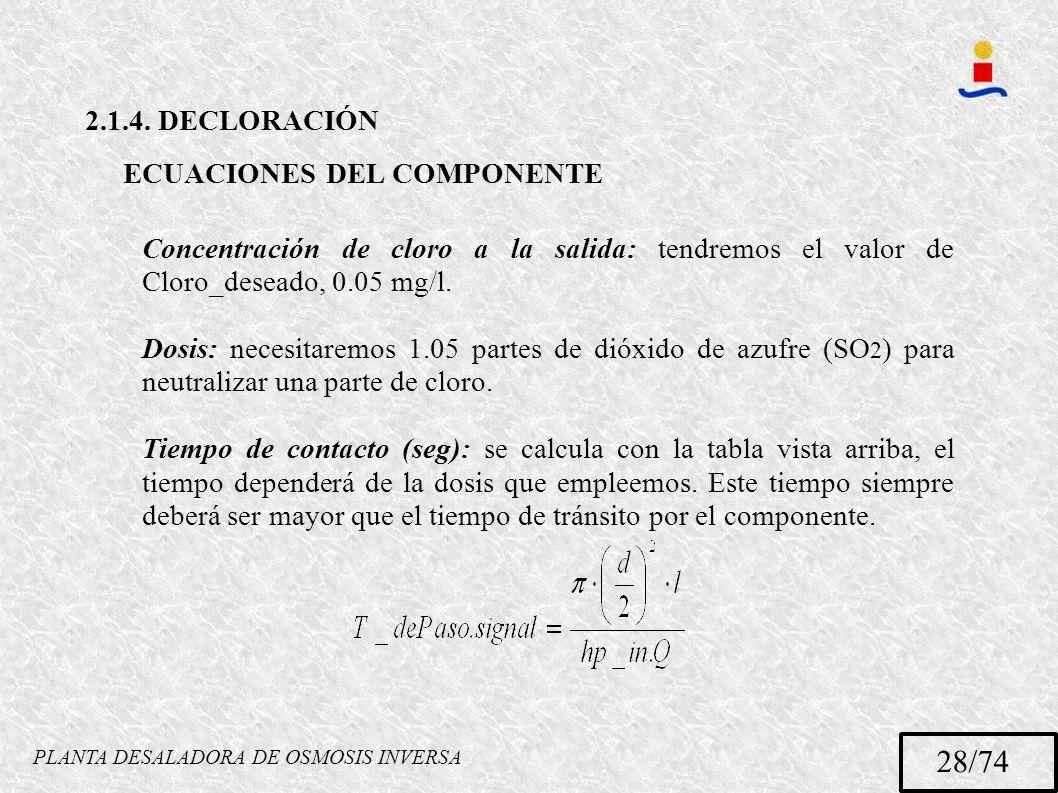 PLANTA DESALADORA DE OSMOSIS INVERSA 28/74 2.1.4. DECLORACIÓN ECUACIONES DEL COMPONENTE Concentración de cloro a la salida: tendremos el valor de Clor