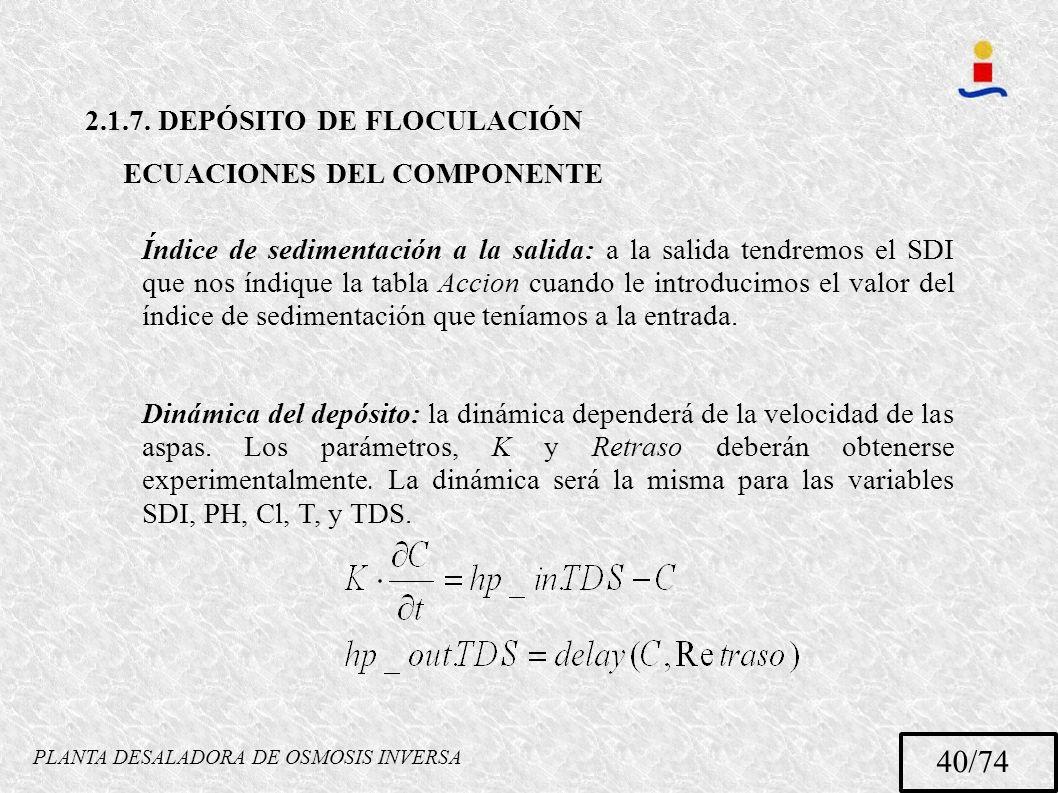 PLANTA DESALADORA DE OSMOSIS INVERSA 40/74 2.1.7. DEPÓSITO DE FLOCULACIÓN ECUACIONES DEL COMPONENTE Índice de sedimentación a la salida: a la salida t