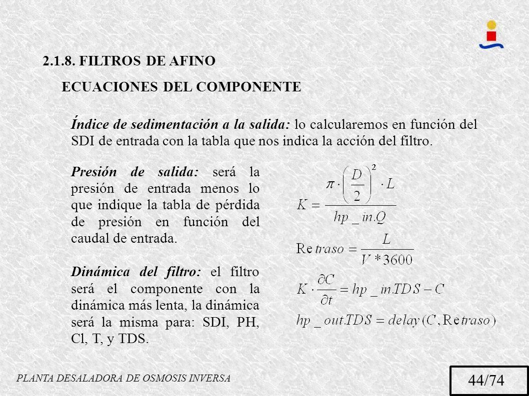 PLANTA DESALADORA DE OSMOSIS INVERSA 44/74 2.1.8. FILTROS DE AFINO ECUACIONES DEL COMPONENTE Índice de sedimentación a la salida: lo calcularemos en f
