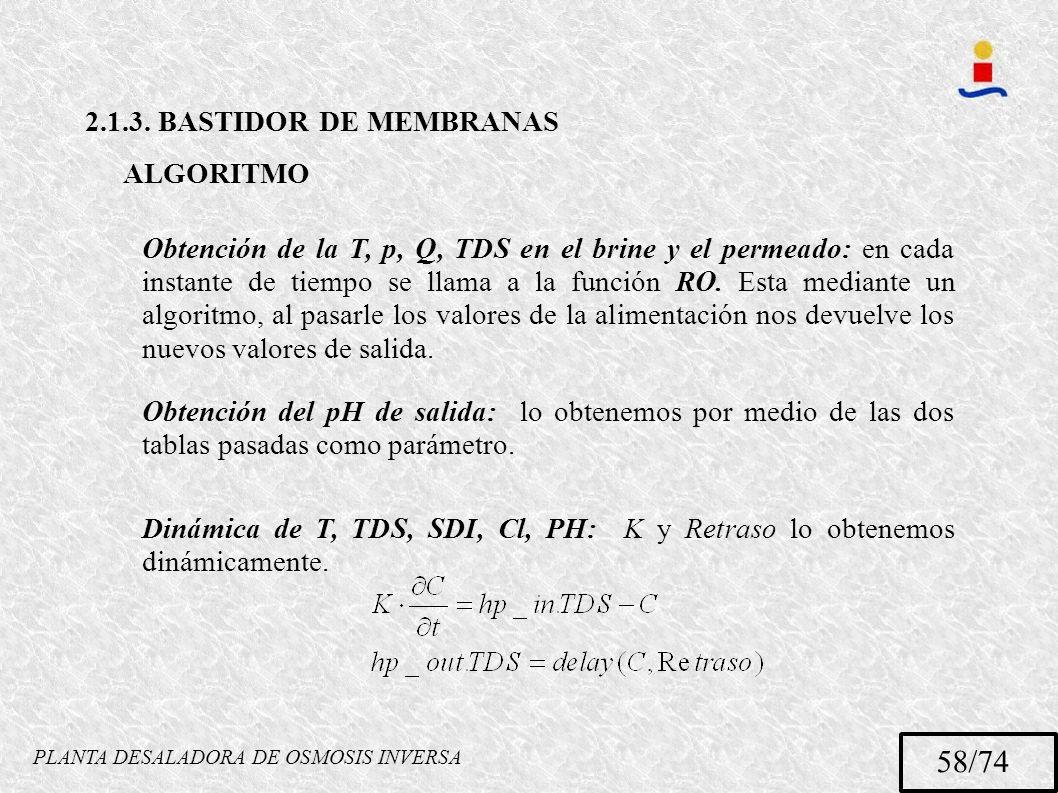 PLANTA DESALADORA DE OSMOSIS INVERSA 58/74 2.1.3. BASTIDOR DE MEMBRANAS ALGORITMO Obtención de la T, p, Q, TDS en el brine y el permeado: en cada inst