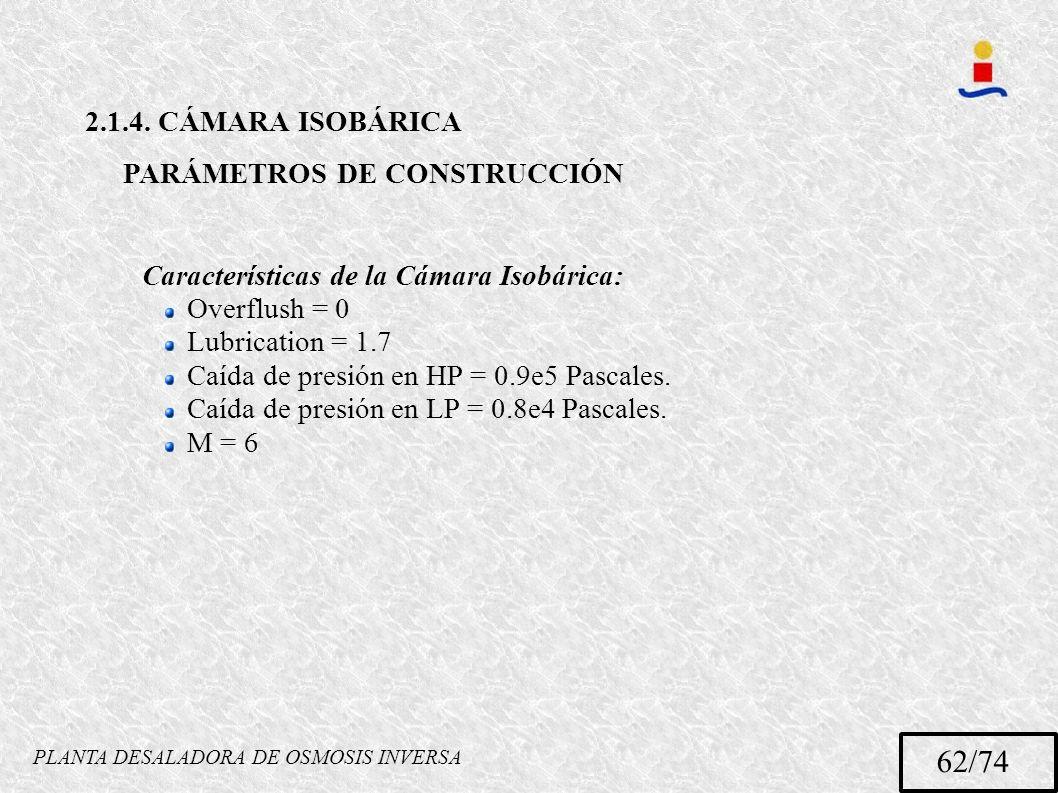 PLANTA DESALADORA DE OSMOSIS INVERSA 62/74 2.1.4. CÁMARA ISOBÁRICA PARÁMETROS DE CONSTRUCCIÓN Características de la Cámara Isobárica: Overflush = 0 Lu