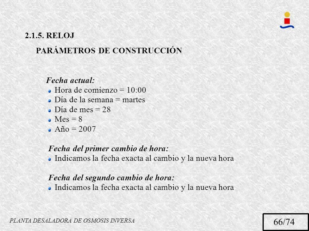 PLANTA DESALADORA DE OSMOSIS INVERSA 66/74 2.1.5. RELOJ PARÁMETROS DE CONSTRUCCIÓN Fecha actual: Hora de comienzo = 10:00 Día de la semana = martes Dí