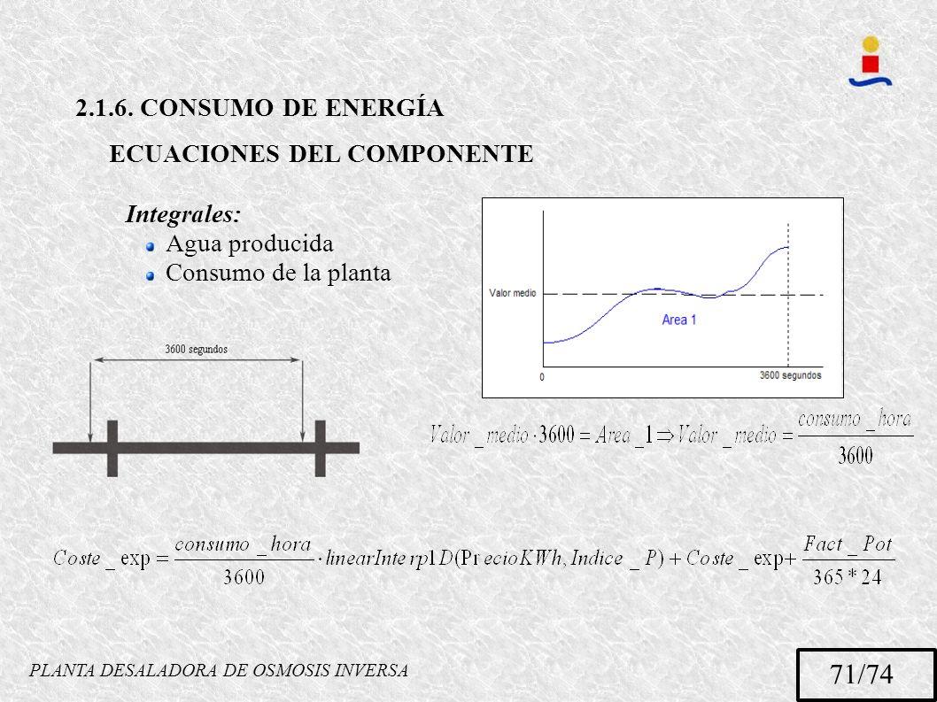 PLANTA DESALADORA DE OSMOSIS INVERSA 71/74 2.1.6. CONSUMO DE ENERGÍA ECUACIONES DEL COMPONENTE Integrales: Agua producida Consumo de la planta