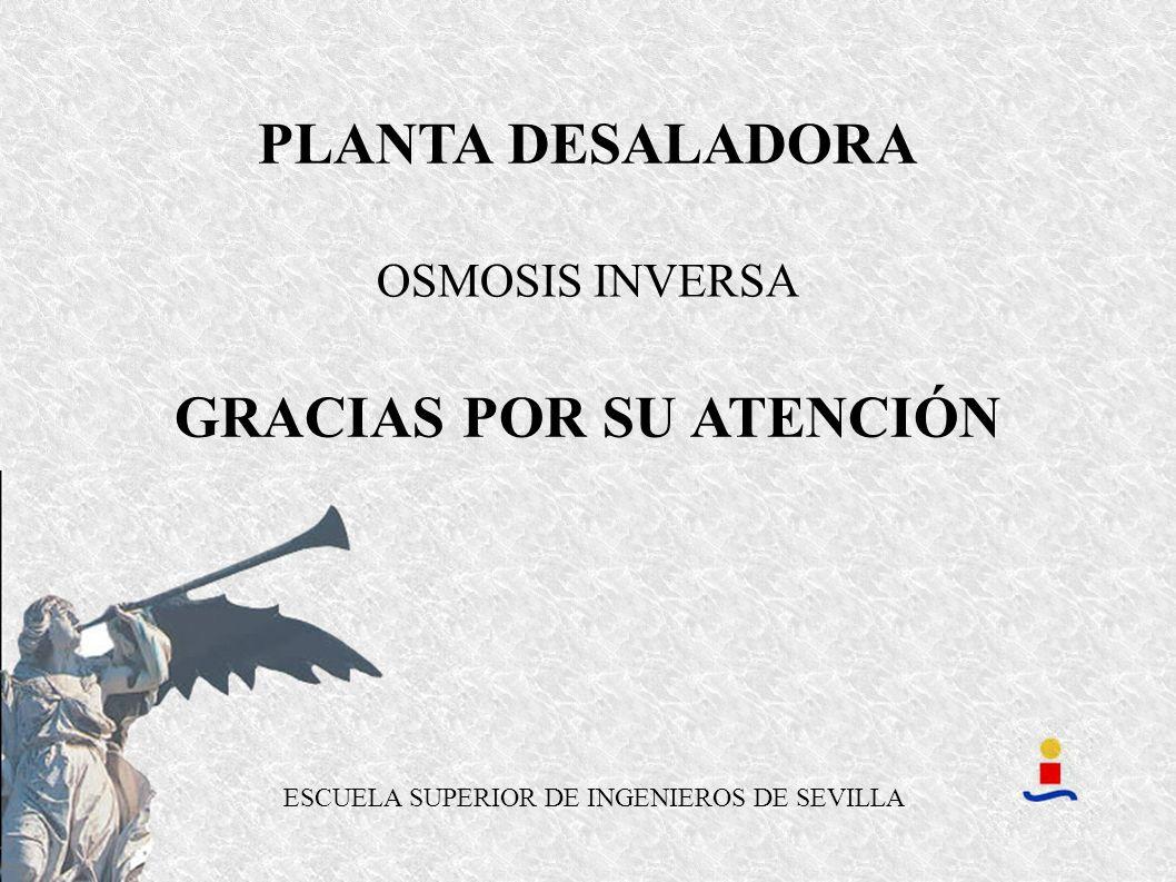 ESCUELA SUPERIOR DE INGENIEROS DE SEVILLA GRACIAS POR SU ATENCIÓN OSMOSIS INVERSA PLANTA DESALADORA