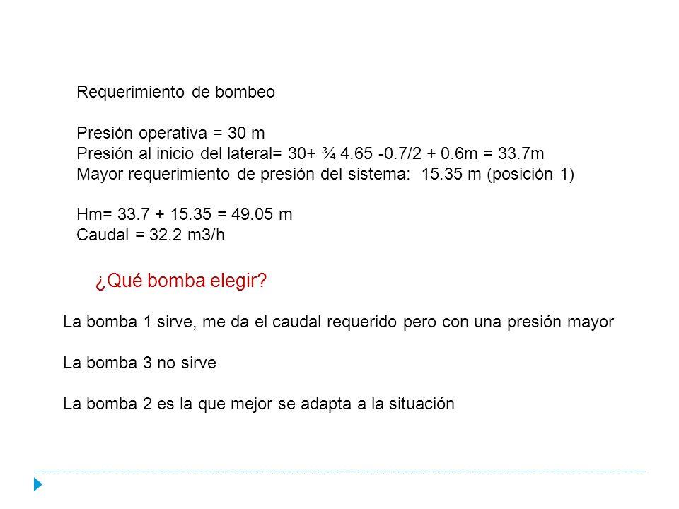 Requerimiento de bombeo Presión operativa = 30 m Presión al inicio del lateral= 30+ ¾ 4.65 -0.7/2 + 0.6m = 33.7m Mayor requerimiento de presión del sistema: 15.35 m (posición 1) Hm= 33.7 + 15.35 = 49.05 m Caudal = 32.2 m3/h ¿Qué bomba elegir.