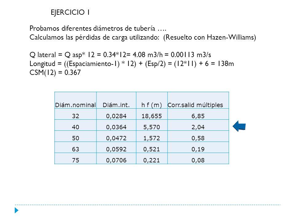 EJERCICIO 1 Diám.nominalDiám.int.h f (m)Corr.salid múltiples 320,028418,6556,85 400,03645,5702,04 500,04721,5720,58 630,05920,5210,19 750,07060,2210,08 Probamos diferentes diámetros de tubería ….