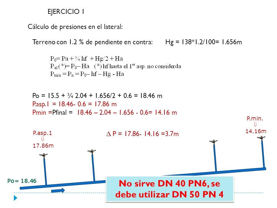 Diseño de las tuberías Laterales Caudal: 3.22 m3/h*5 asp= 16.1 m3/h = 0.0045 m3/s Longitud= (18*4)+9=81m C= 140 (PVC) CSM=0.397 DP = 20%Pn= 0.2* 30 = 6m Probamos DN50 PN4 Hf = 4.65m sirve