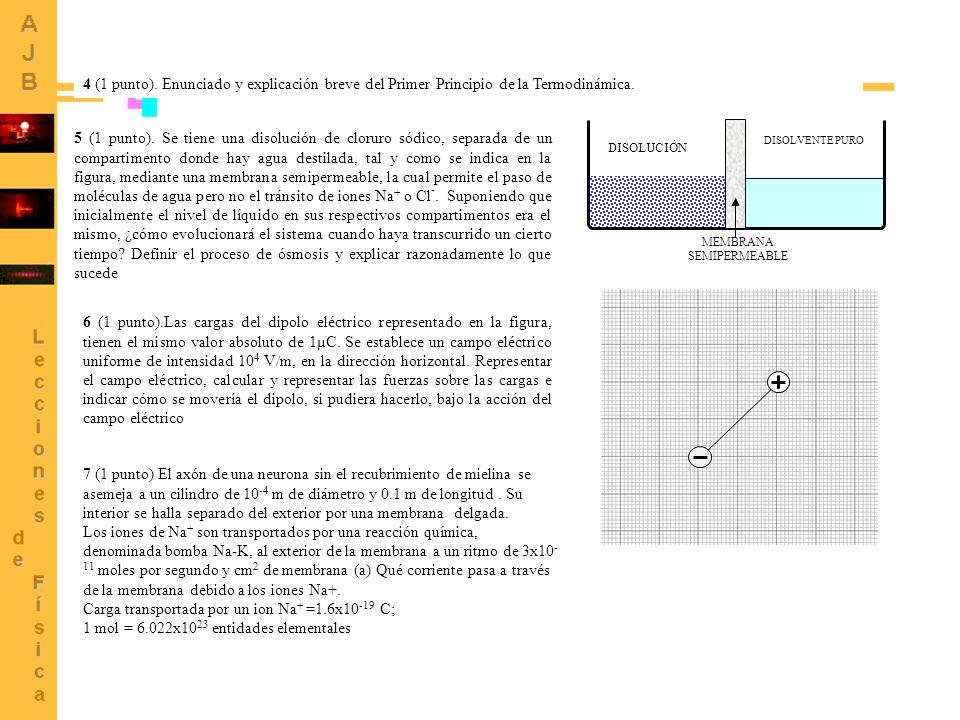4 (1 punto). Enunciado y explicación breve del Primer Principio de la Termodinámica. 6 (1 punto).Las cargas del dipolo eléctrico representado en la fi