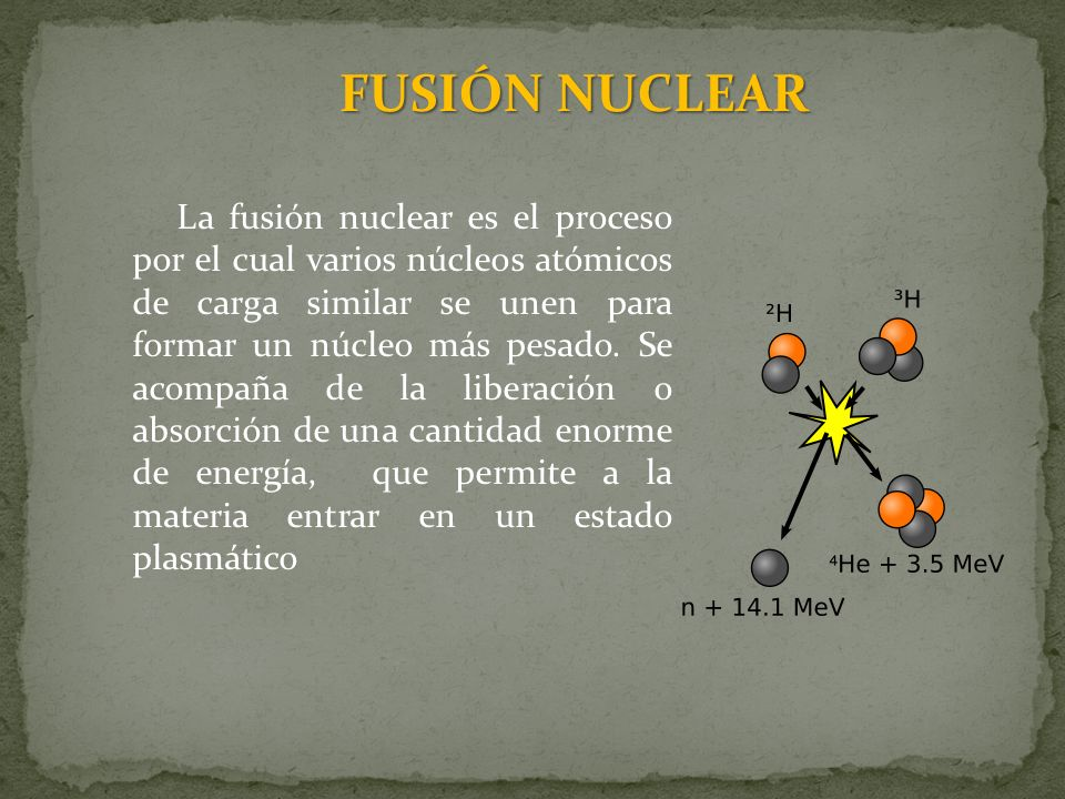 La fusión nuclear es el proceso por el cual varios núcleos atómicos de carga similar se unen para formar un núcleo más pesado. Se acompaña de la liber