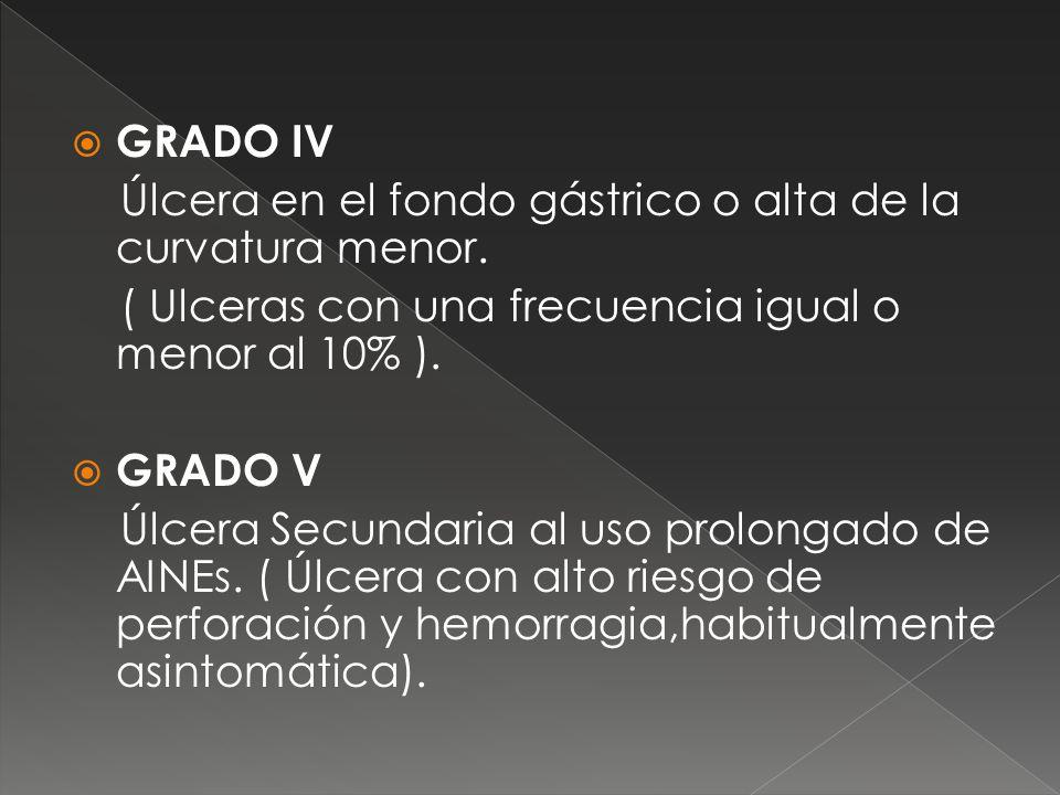 GRADO IV Úlcera en el fondo gástrico o alta de la curvatura menor. ( Ulceras con una frecuencia igual o menor al 10% ). GRADO V Úlcera Secundaria al u
