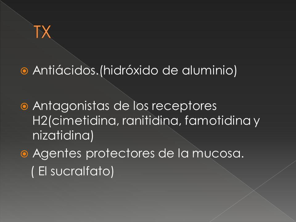 Antiácidos.(hidróxido de aluminio) Antagonistas de los receptores H2(cimetidina, ranitidina, famotidina y nizatidina) Agentes protectores de la mucosa