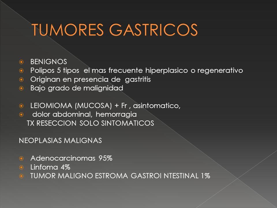 BENIGNOS Polipos 5 tipos el mas frecuente hiperplasico o regenerativo Originan en presencia de gastritis Bajo grado de malignidad LEIOMIOMA (MUCOSA) +