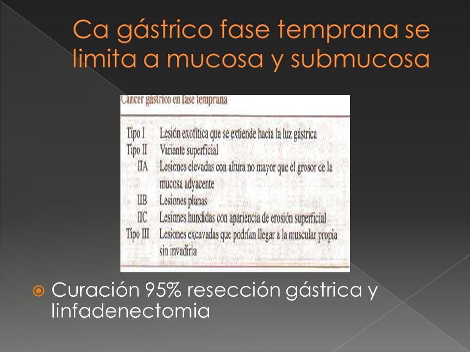 Curación 95% resección gástrica y linfadenectomia