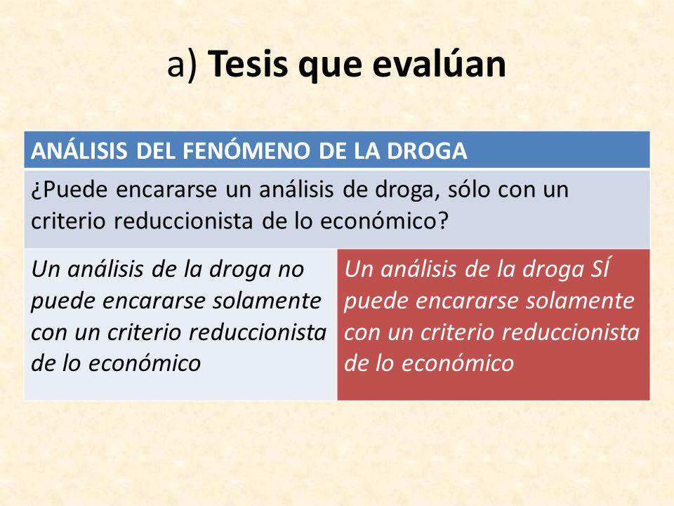 a) Tesis que evalúan ANÁLISIS DEL FENÓMENO DE LA DROGA ¿Puede encararse un análisis de droga, sólo con un criterio reduccionista de lo económico? Un a