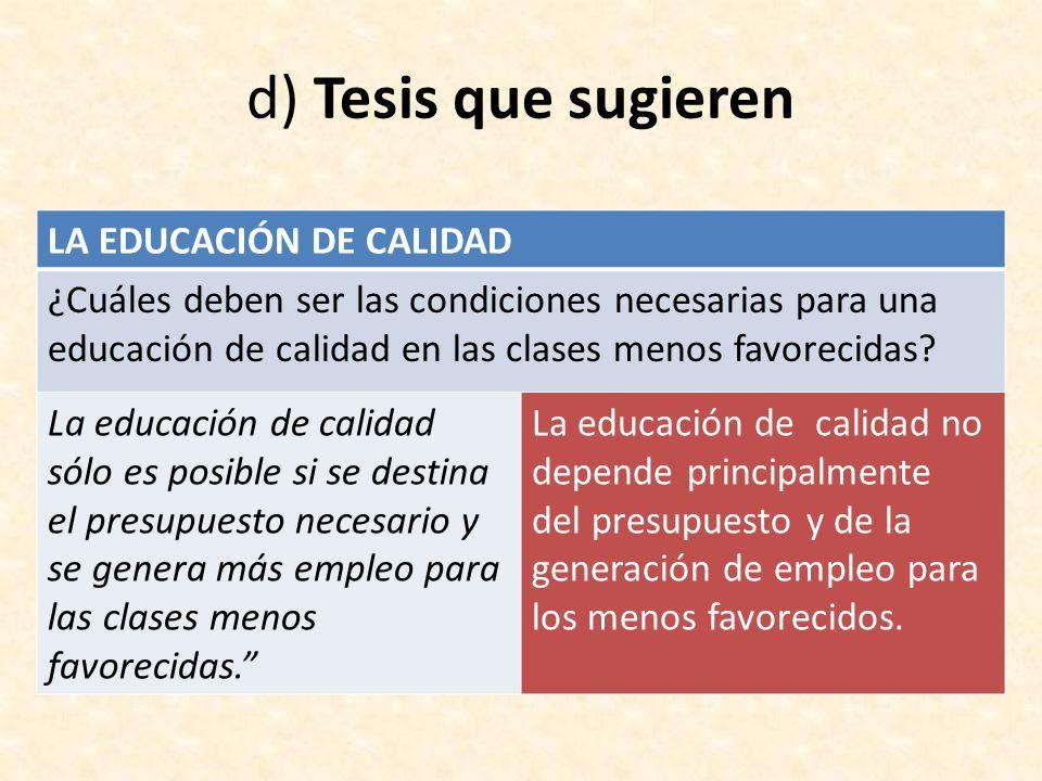 d) Tesis que sugieren LA EDUCACIÓN DE CALIDAD ¿Cuáles deben ser las condiciones necesarias para una educación de calidad en las clases menos favorecid