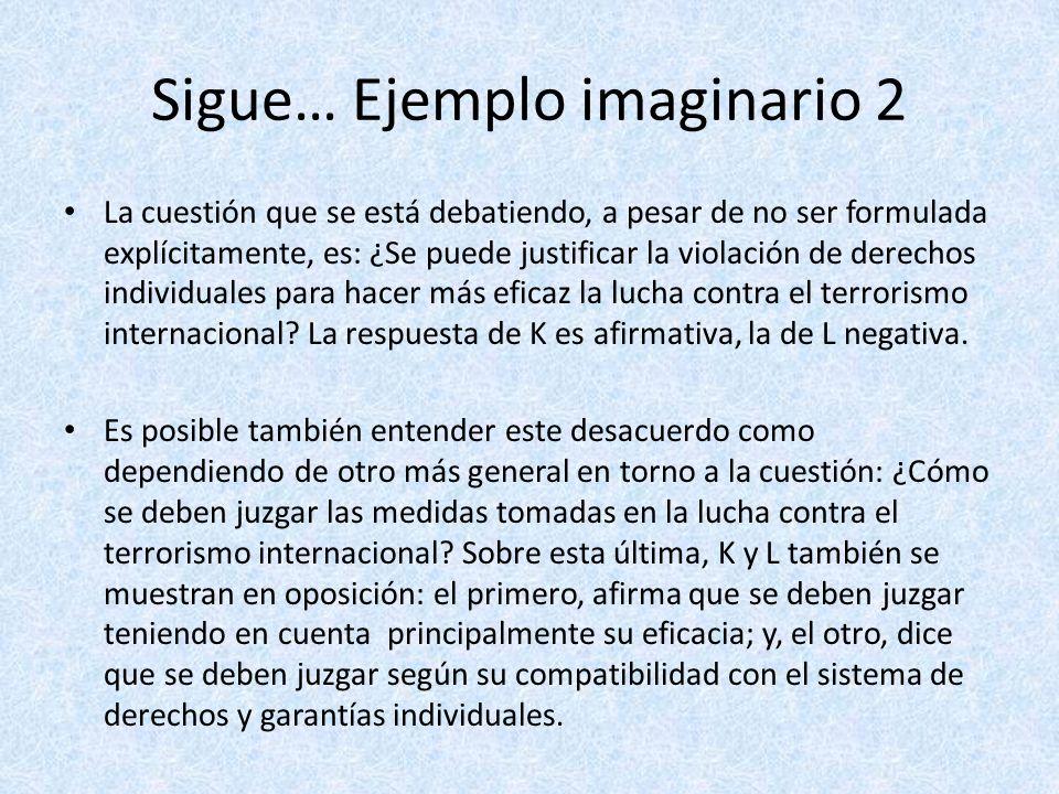 Sigue… Ejemplo imaginario 2 La cuestión que se está debatiendo, a pesar de no ser formulada explícitamente, es: ¿Se puede justificar la violación de d