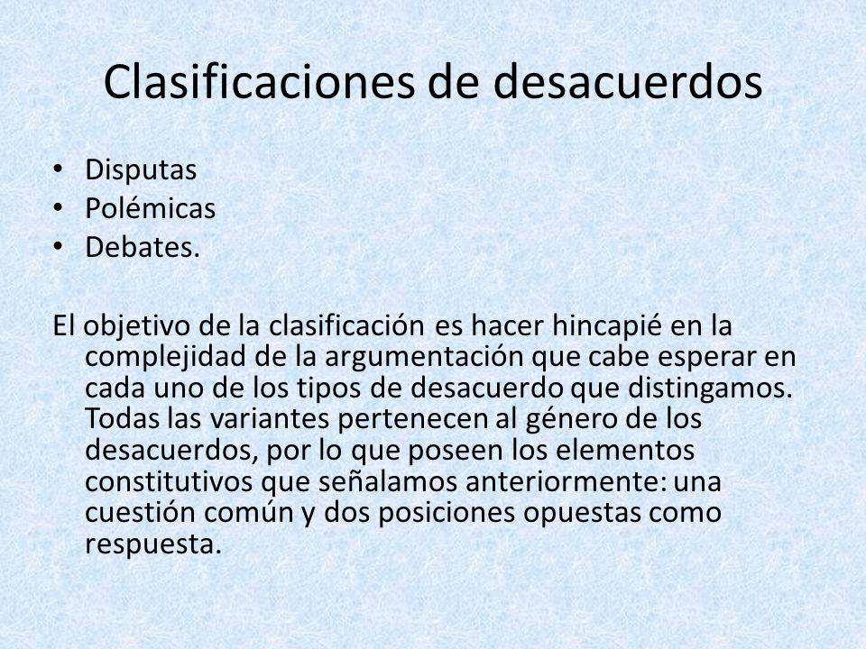 Clasificaciones de desacuerdos Disputas Polémicas Debates. El objetivo de la clasificación es hacer hincapié en la complejidad de la argumentación que