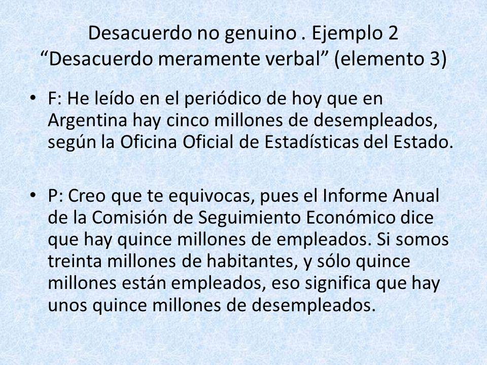 Desacuerdo no genuino. Ejemplo 2 Desacuerdo meramente verbal (elemento 3) F: He leído en el periódico de hoy que en Argentina hay cinco millones de de