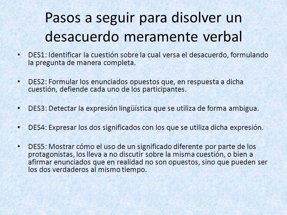 Pasos a seguir para disolver un desacuerdo meramente verbal DES1: Identificar la cuestión sobre la cual versa el desacuerdo, formulando la pregunta de