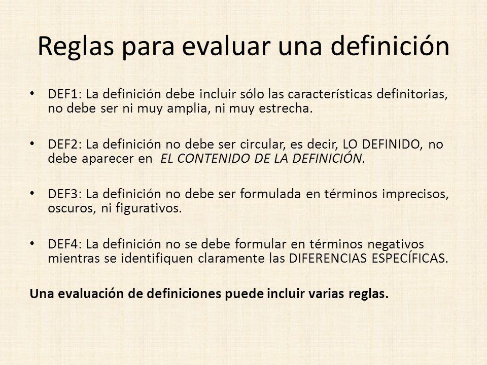 Reglas para evaluar una definición DEF1: La definición debe incluir sólo las características definitorias, no debe ser ni muy amplia, ni muy estrecha.