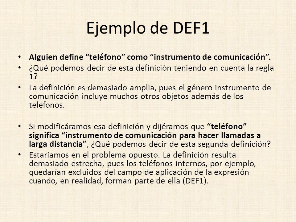 Ejemplo de DEF1 Alguien define teléfono como instrumento de comunicación. ¿Qué podemos decir de esta definición teniendo en cuenta la regla 1? La defi
