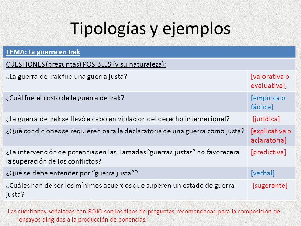Tipologías y ejemplos Las cuestiones señaladas con ROJO son los tipos de preguntas recomendadas para la composición de ensayos dirigidos a la producci