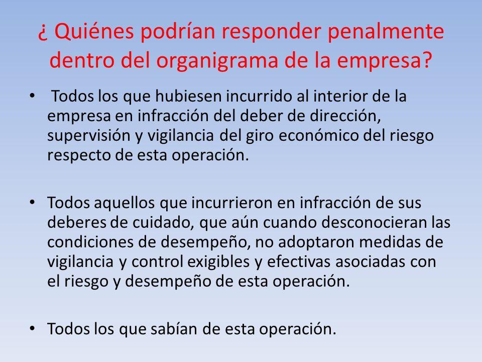¿ Quiénes podrían responder penalmente dentro del organigrama de la empresa? Todos los que hubiesen incurrido al interior de la empresa en infracción