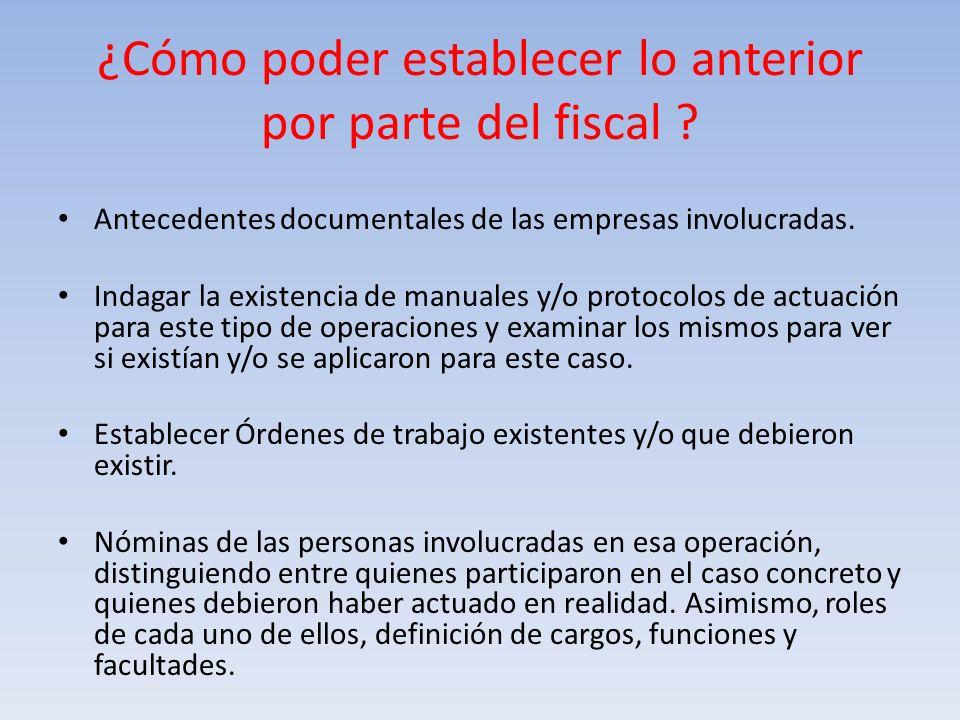 ¿Cómo poder establecer lo anterior por parte del fiscal ? Antecedentes documentales de las empresas involucradas. Indagar la existencia de manuales y/
