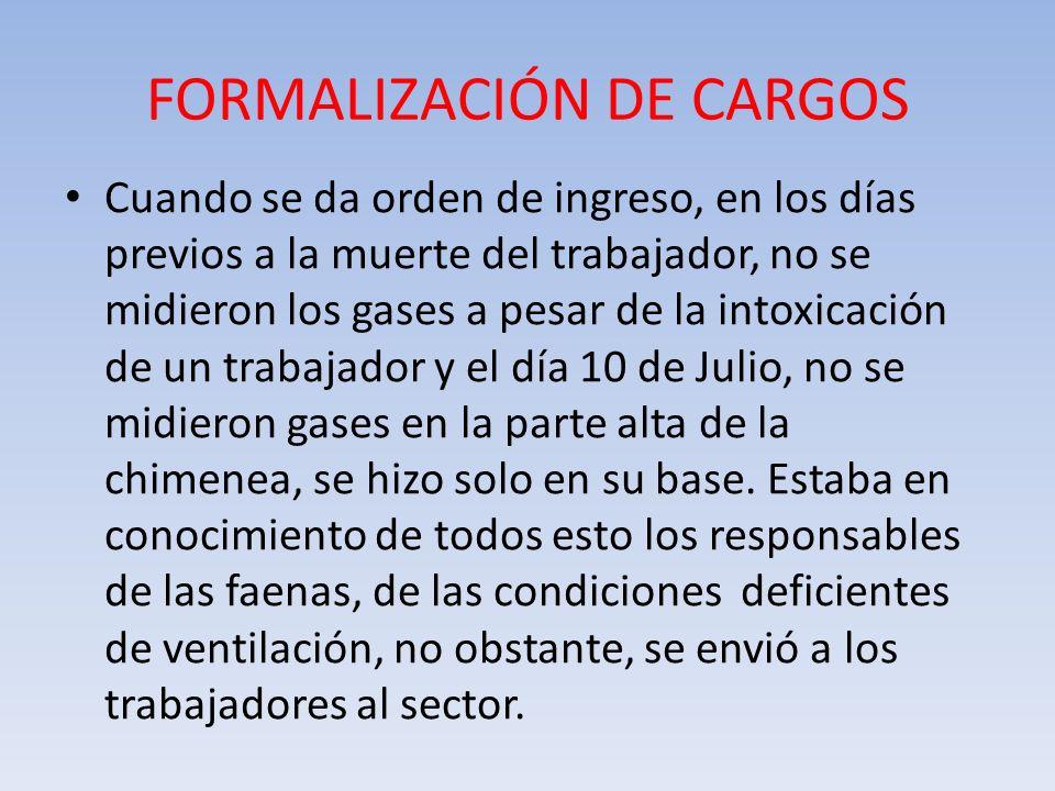 FORMALIZACIÓN DE CARGOS Cuando se da orden de ingreso, en los días previos a la muerte del trabajador, no se midieron los gases a pesar de la intoxica