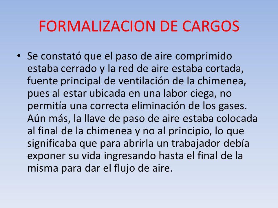 FORMALIZACION DE CARGOS Se constató que el paso de aire comprimido estaba cerrado y la red de aire estaba cortada, fuente principal de ventilación de