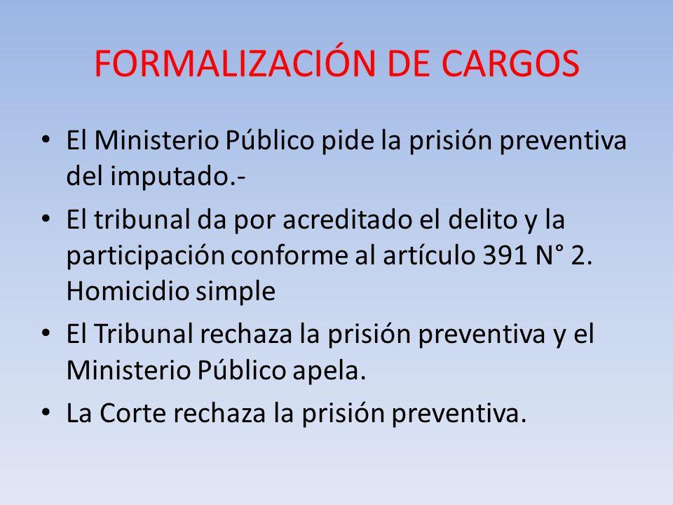 FORMALIZACIÓN DE CARGOS El Ministerio Público pide la prisión preventiva del imputado.- El tribunal da por acreditado el delito y la participación con