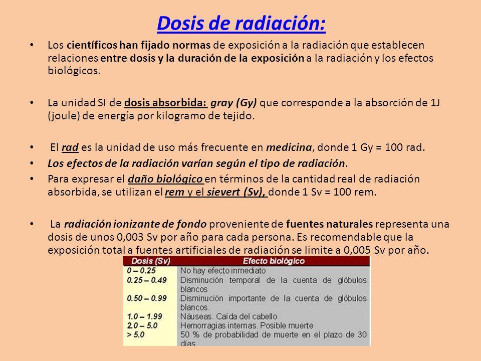 Dosis de radiación: Los científicos han fijado normas de exposición a la radiación que establecen relaciones entre dosis y la duración de la exposició