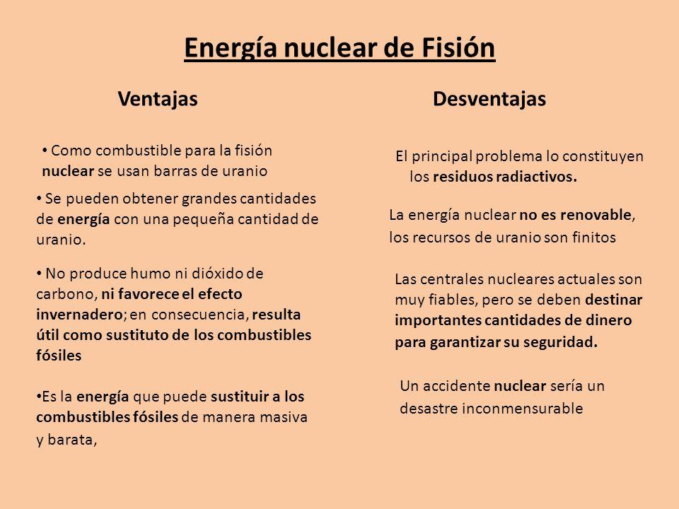 Energía nuclear de Fisión VentajasDesventajas Es la energía que puede sustituir a los combustibles fósiles de manera masiva y barata, No produce humo