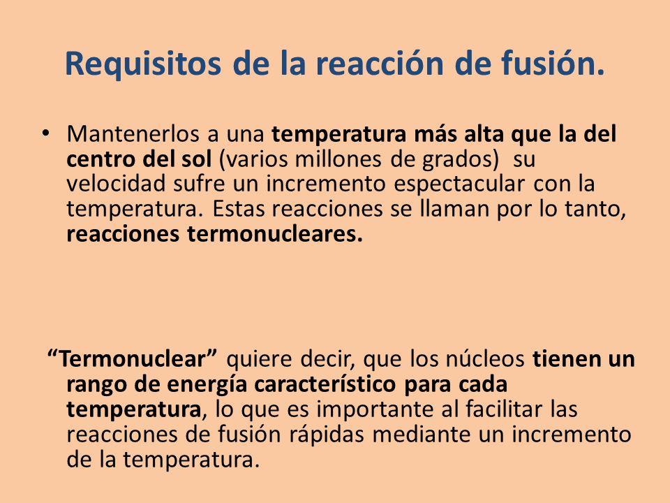 Requisitos de la reacción de fusión. Mantenerlos a una temperatura más alta que la del centro del sol (varios millones de grados) su velocidad sufre u