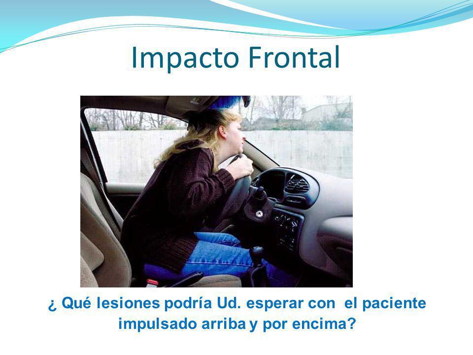 Impacto Frontal ¿ Qué lesiones podría Ud. esperar con el paciente impulsado arriba y por encima?
