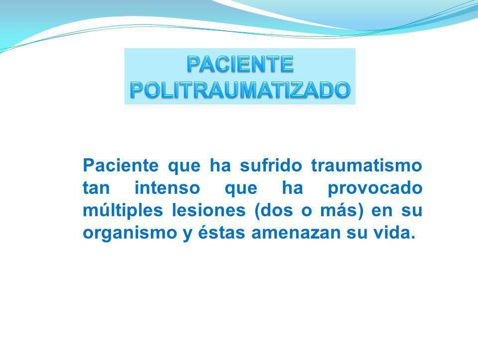 Paciente que ha sufrido traumatismo tan intenso que ha provocado múltiples lesiones (dos o más) en su organismo y éstas amenazan su vida.
