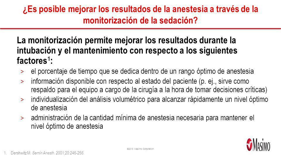 ©2013 Masimo Corporation ¿Es posible mejorar los resultados de la anestesia a través de la monitorización de la sedación? La monitorización permite me