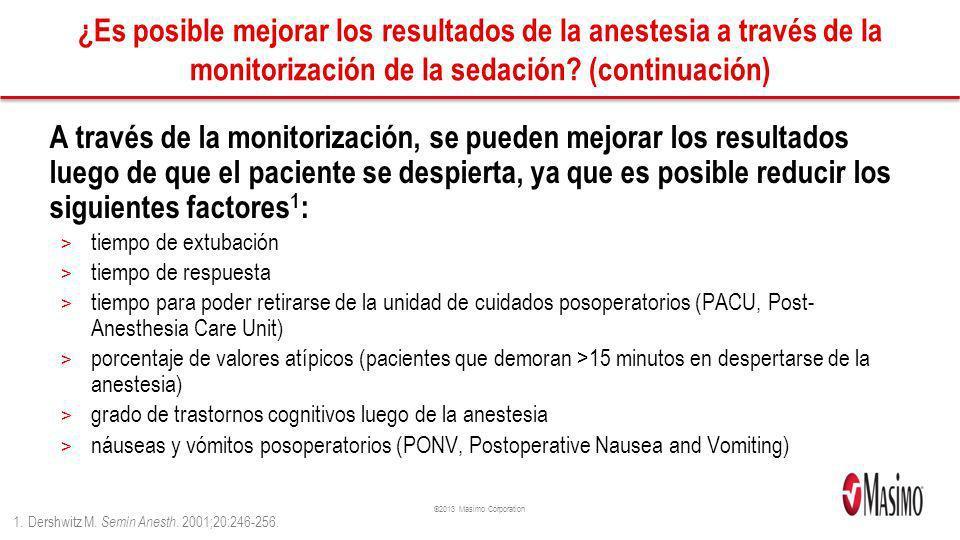 ©2013 Masimo Corporation ¿Es posible mejorar los resultados de la anestesia a través de la monitorización de la sedación? (continuación) A través de l