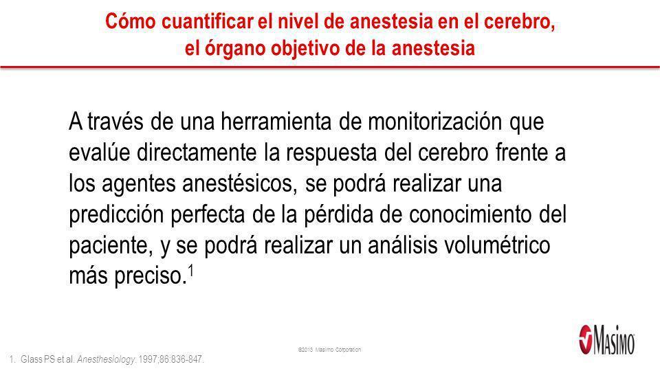 ©2013 Masimo Corporation Cómo cuantificar el nivel de anestesia en el cerebro, el órgano objetivo de la anestesia A través de una herramienta de monit