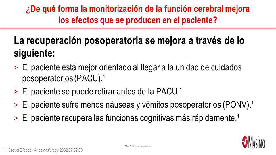 ©2013 Masimo Corporation ¿De qué forma la monitorización de la función cerebral mejora los efectos que se producen en el paciente? La recuperación pos
