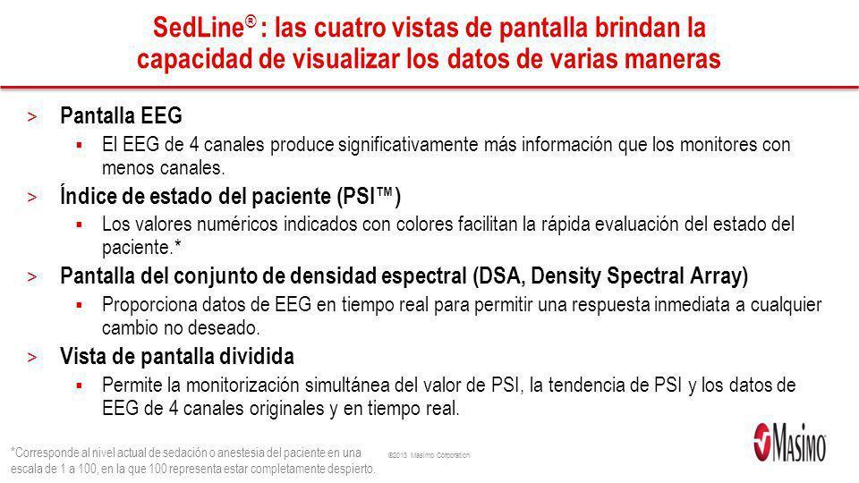 ©2013 Masimo Corporation SedLine ® : las cuatro vistas de pantalla brindan la capacidad de visualizar los datos de varias maneras > Pantalla EEG El EE