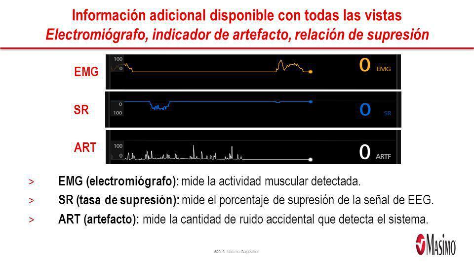 ©2013 Masimo Corporation Información adicional disponible con todas las vistas Electromiógrafo, indicador de artefacto, relación de supresión > EMG (e