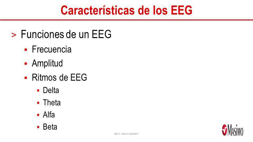 ©2013 Masimo Corporation Características de los EEG > Funciones de un EEG Frecuencia Amplitud Ritmos de EEG Delta Theta Alfa Beta