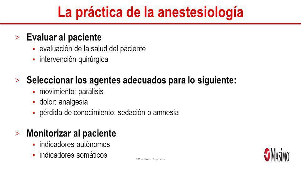 ©2013 Masimo Corporation Movimiento Dolor Los objetivos de la anestesia general El objetivo de la anestesia general es suministrar una cantidad equilibrada de agentes mediante los cuales se puedan alcanzar los niveles adecuados de lo siguiente: Pérdida de conocimiento amnesia sedación