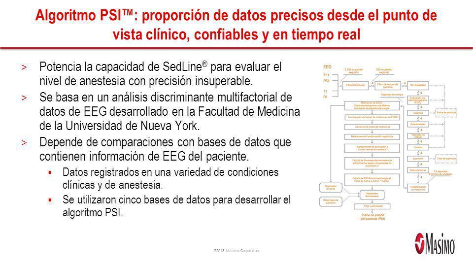 ©2013 Masimo Corporation Algoritmo PSI: proporción de datos precisos desde el punto de vista clínico, confiables y en tiempo real > Potencia la capaci