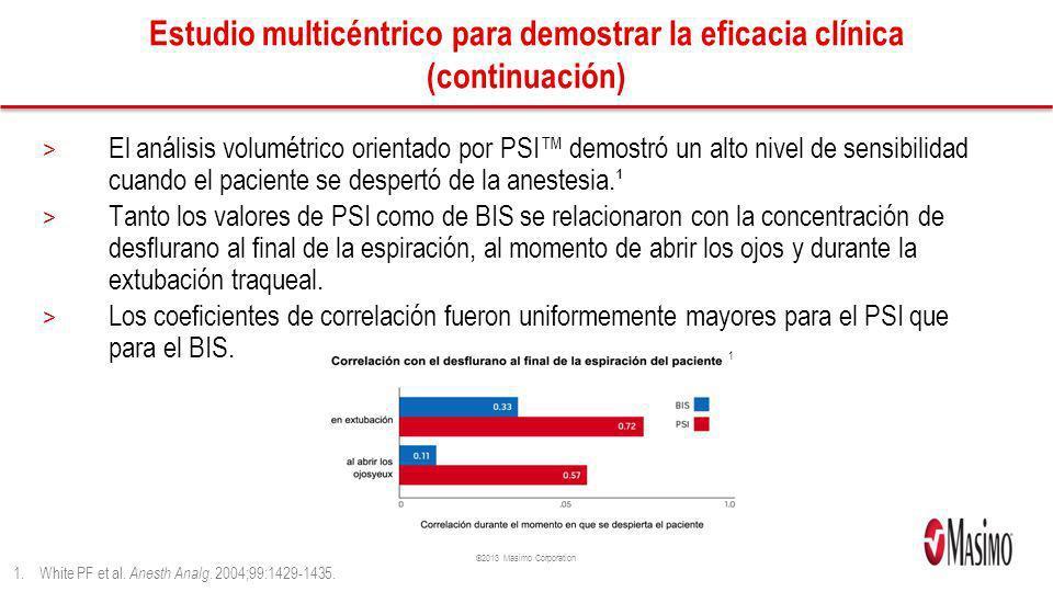 ©2013 Masimo Corporation Estudio multicéntrico para demostrar la eficacia clínica (continuación) > El análisis volumétrico orientado por PSI demostró