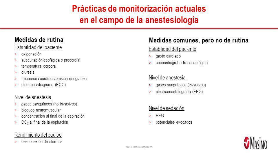 ©2013 Masimo Corporation Prácticas de monitorización actuales en el campo de la anestesiología Medidas de rutina Estabilidad del paciente > oxigenació