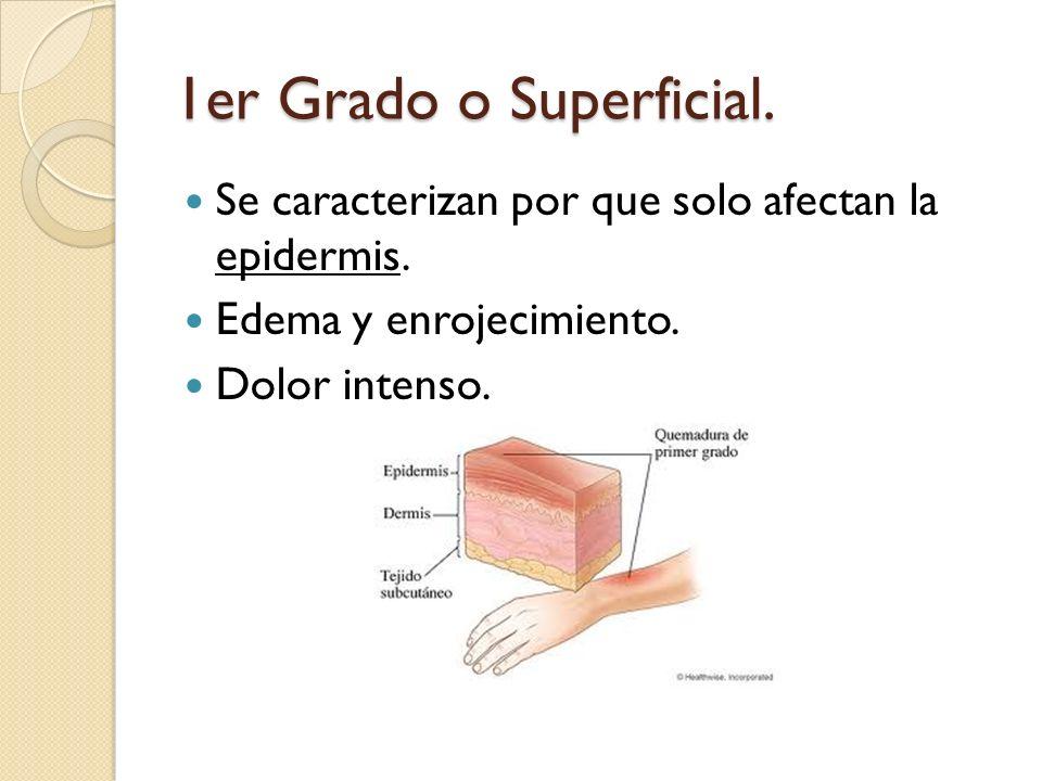 1er Grado o Superficial. Se caracterizan por que solo afectan la epidermis. Edema y enrojecimiento. Dolor intenso.