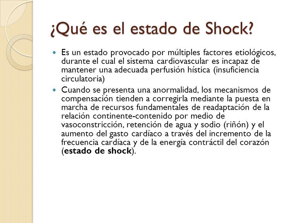 ¿Qué es el estado de Shock? Es un estado provocado por múltiples factores etiológicos, durante el cual el sistema cardiovascular es incapaz de mantene